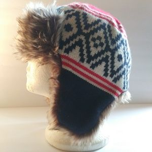 GAP Kids Aviator Trapper Snow Hat, Blue&Red